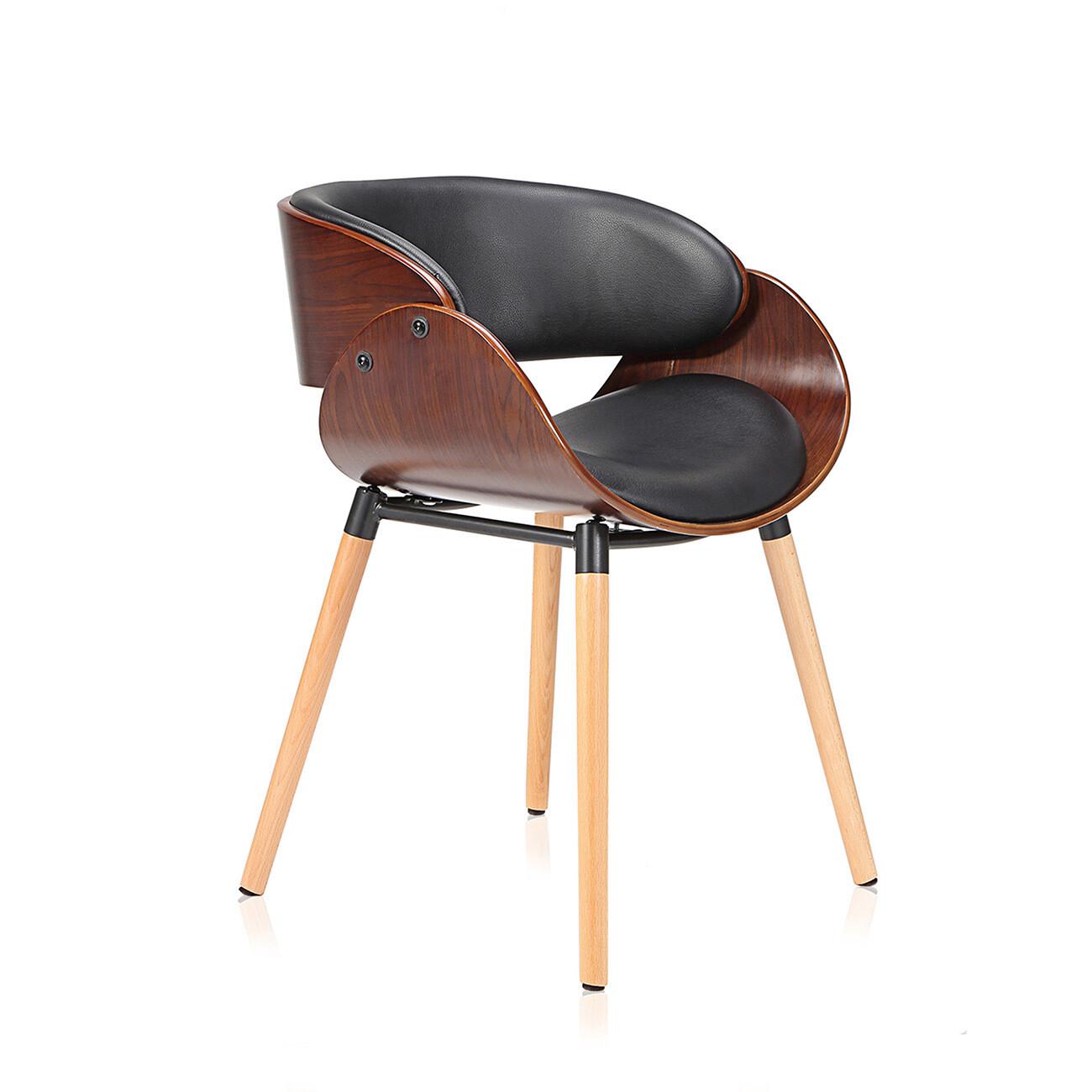 Makika Retro Design-Bürostuhl - Belle in Schwarz/Braun