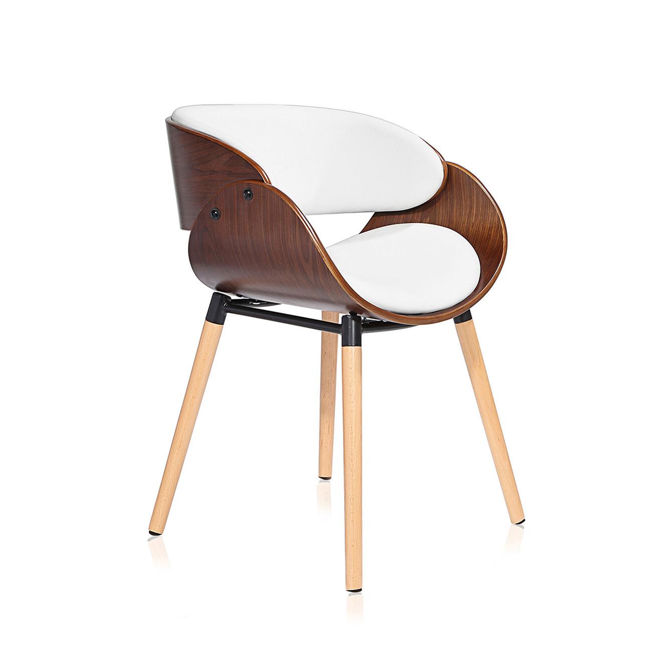 Makika Retro Design-Bürostuhl - Belle in Weiss/Braun