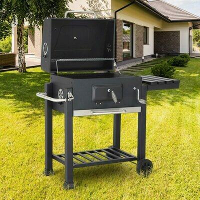 Strattore Holzkohlegrill / quadratischer BBQ Grillwagen aus Eisen