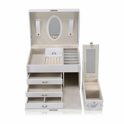 Makika Schmuckaufbewahrung / Schmuckkästchen viereckig mit 3 Schubladen und extra Schmuckbox - in Weiss