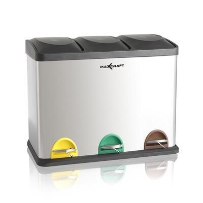 MAXCRAFT Mülleimer / Treteimer mit 3 Behältern - 60 Liter (3 x 20 Liter)