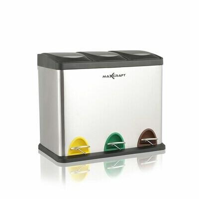 MAXCRAFT Mülleimer / Treteimer mit 3 Behältern - 24 Liter (3 x 8 Liter)