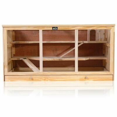 zoomundo Hamsterkäfig / Nagerkäfig mit Plexiglasfenster aus Holz