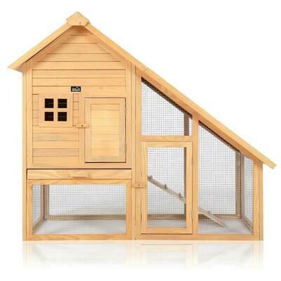 zoomundo Hasenstall / Kaninchenstall mit Schrägdach und Freilaufgehege aus Holz