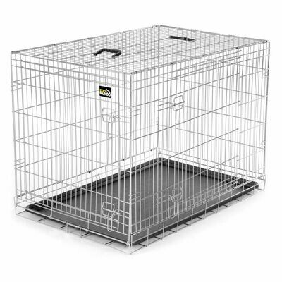 zoomundo Faltbarer Tierkäfig / Transportbox - Silber Größe XL
