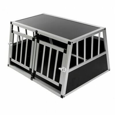 Hundetransportbox / Kofferraumbox aus Aluminium - 2-Türig Premium