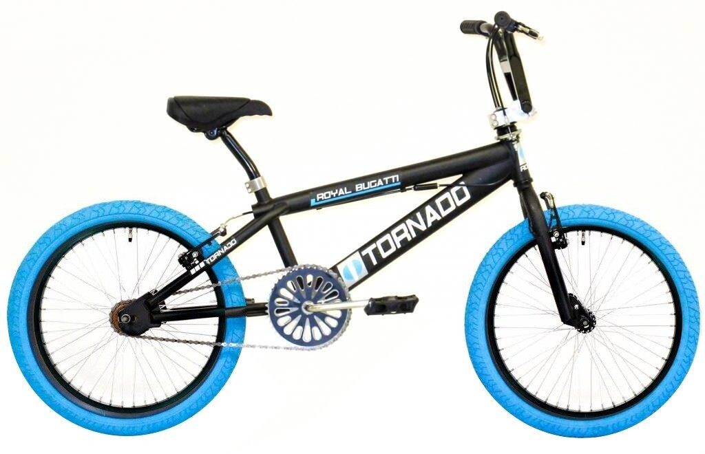 BMX Bike Fun Tornado 20 Zoll Unisex Felgenbremsen Mattschwarz / Blau