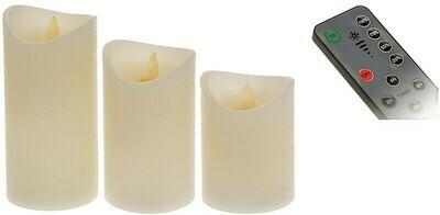 LED Kerzen - 3 Stück - mit beweglicher Flamme, Timer, Dimmer und Fernbedienung