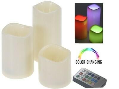 Farbwechselnde LED-Kerzen mit Fernbedienung - 3er-Set