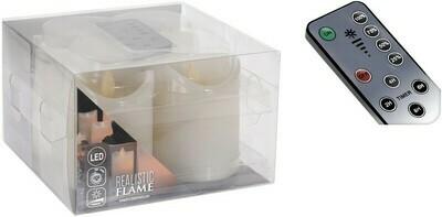 Echt-Wachs-Kerze LED 4er-Set