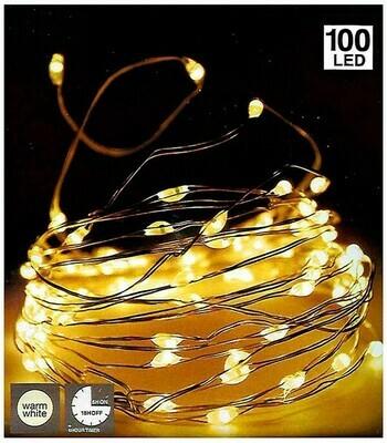 Silberdraht Lichterkette 100LED - mit Timer