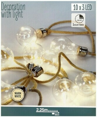 Juteseil Girlande - 10 Lampen - 2,25 m