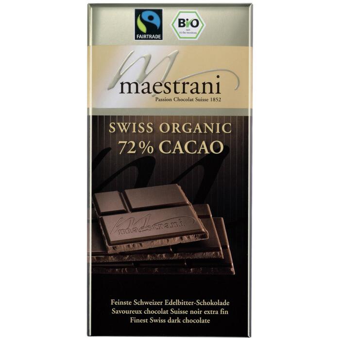 Grosspackung Maestrani Bio Swiss Organic 72% Cacao 16 x 80 g = 1,28 kg