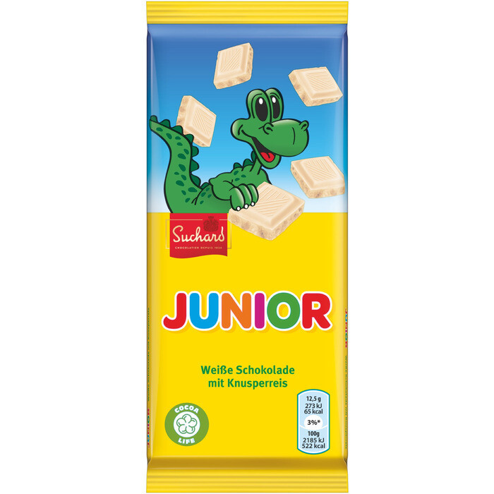 Grosspackung Suchard Junior weisse Schokolade mit Knusperreis 22 x 75 g = 1,65 kg
