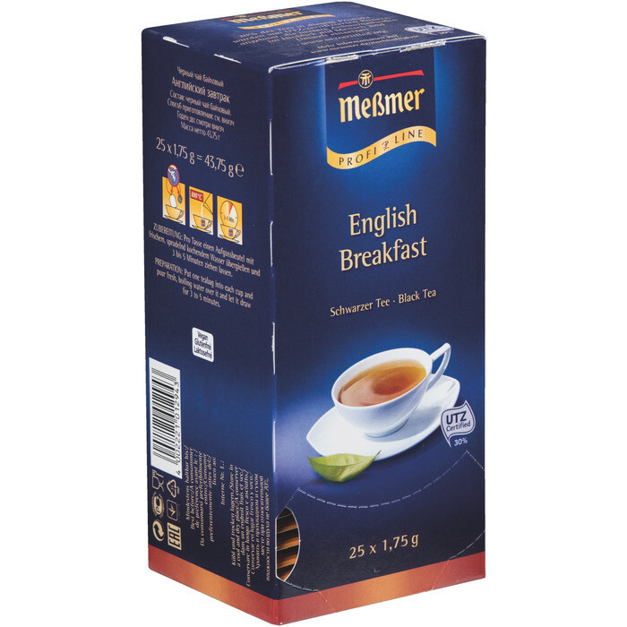 Grosspackung Messmer Tee Profiline English Breakfast 25er 12 x 44g = 0,528 kg
