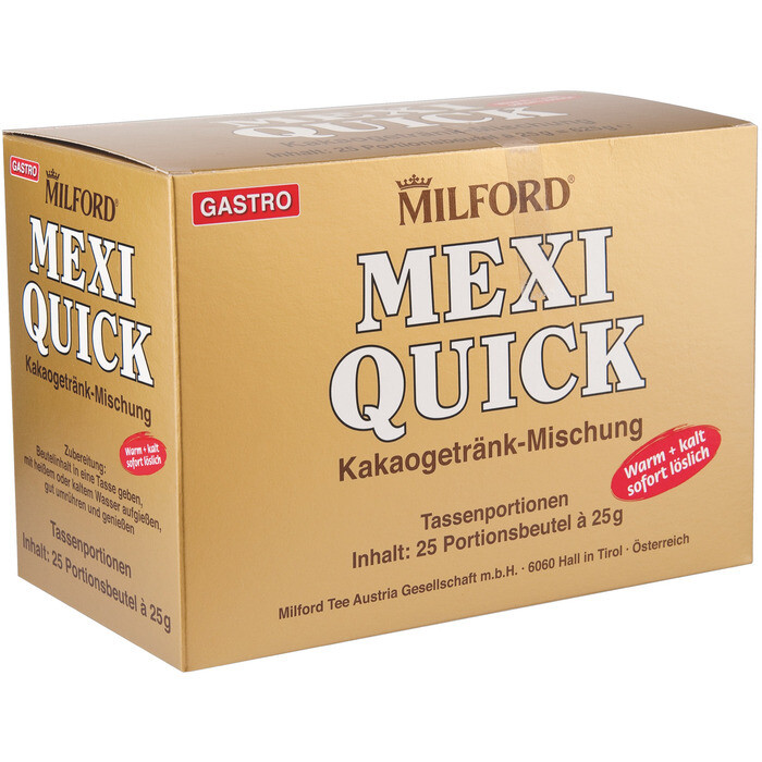 Grosspackung Milford Mexi Quick Kakao Portionen 4 x (25 x 25 g) = 2,5 kg