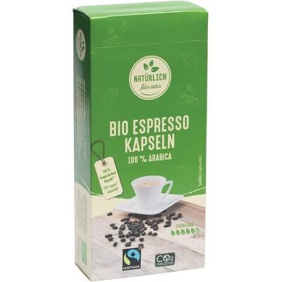Grosspackung natürlich für uns Bio Fairtrade Kaffeekapseln Espresso 100 % Arabica Kaffee, kompostierbar 12 x 10 Stück = 120 Stück