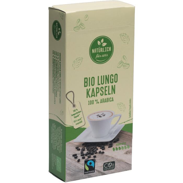 Grosspackung natürlich für uns Bio Fairtrade Kaffeekapseln Lungo 100% Arabica, kompostierbar 12 x 10 Stück = 120 Stück