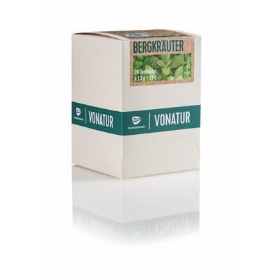 Grosspackung Vonatur Bio Tee Bergkräuter aus kontrolliert biologischer Landwirtschaft 6 x 20er = 120 Beutel