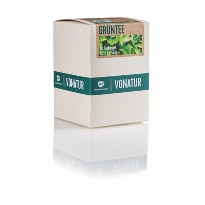 Grosspackung Vonatur Bio Grüntee aus kontrolliert biologischer Landwirtschaft 6 x 20er = 120 Beutel