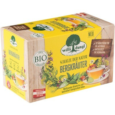 Grosspackung Willi Dungl Bio Tee Bergkräuter 10 x 20 er = 200 Beutel