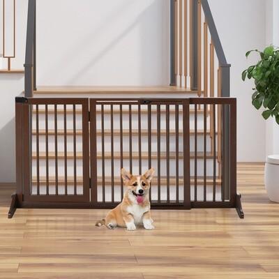 PawHut® Hunde Türschutzgitter Absperrgitter Schutzgitter Hundegitter Kiefer Braun