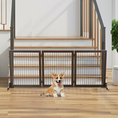PawHut® Haustiertor Absperrgitter für Hunde Schutzgitter Hundegitter Kiefernholz Braun