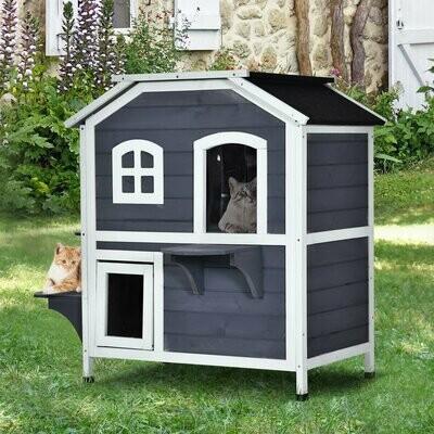 PawHut® Katzenhaus Outdoor Katzenhütte 2-Etagen Katzenvilla Hundehütte Asphaltdach Massivholz Grau
