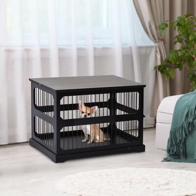 PawHut® Hundekäfig Tierkäfig aus MDF und Metall Hundebox Moderner Stil Schwarz