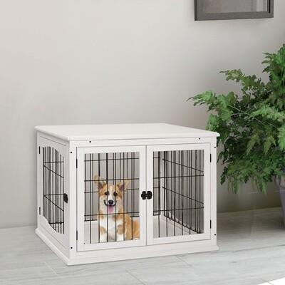 PawHut® Hundekäfig für Zuhause 2 Türen Tierkäfig Haustier MDF Metall Weiss