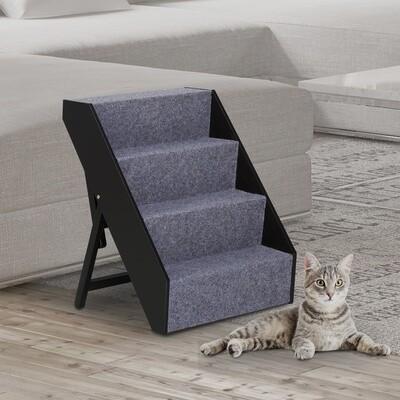 PawHut® PawHut® Haustiertreppe Katzentreppe Hundetreppe Einstiegshilfe mit grauem Teppich faltbar