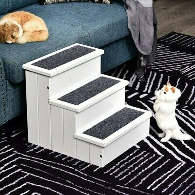 PawHut® Hundetreppe mit Teppichbezug Katzentreppe Haustier Zubehör Kieferholz Weiss