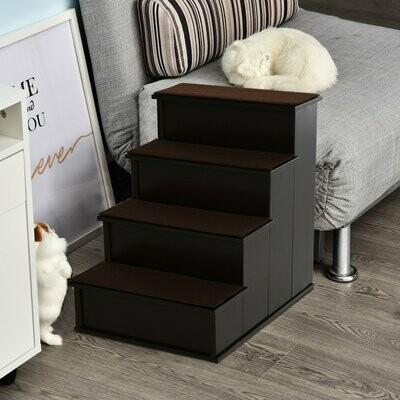 PawHut® Haustiertreppe mit Teppich Hundetreppe Katzentreppe Einstiegshilfe MDF Dunkelbraun