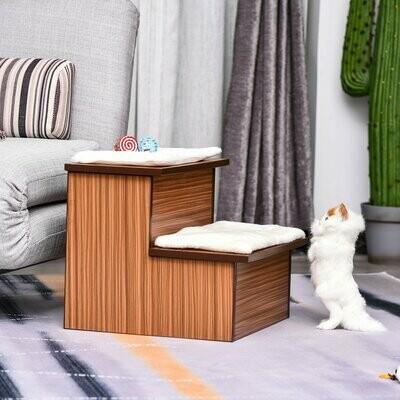 PawHut® Hundetreppe Katzentreppe mit Aufbewahrungsboxen Haustiertreppe MDF Plüsch