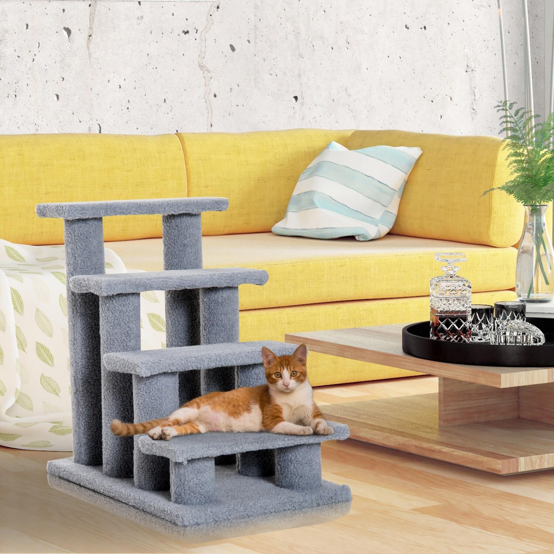 PawHut® Tiertreppe Katzentreppe Hundetreppe Treppe für Katze und Hunde 4 Stufen