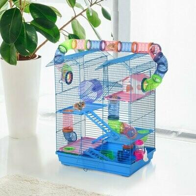 PawHut® Starterkit Hamsterkäfig Mehrebenen-Nagerkäfig Mäusekäfig