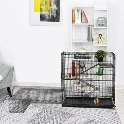 PawHut® Kleintierkäfig Nagerkäfig mit L-förmigen Auslauf Tierkäfig Stahl+PP 200x120x120cm