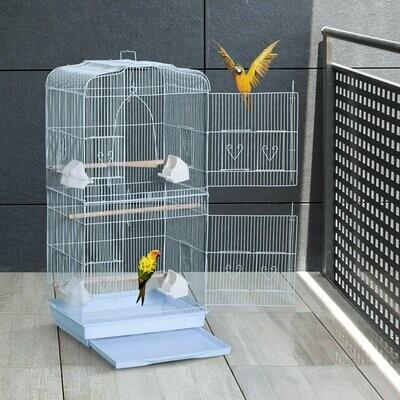 PawHut® Vogelkäfig Vogelvoliere Vogelhaus Metallvoliere für Vögel mit Ständer Weiss