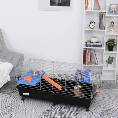 PawHut® Kleintierkäfig Rollbarer Nagerkäfig Starter-Set mit allem Zubehör 119x59x50cm