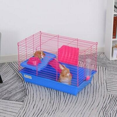 PawHut® Kleintierkäfig Tierkäfig Nagerkäfig Starter-Set mit allem Zubehör Stahl+PP Blau