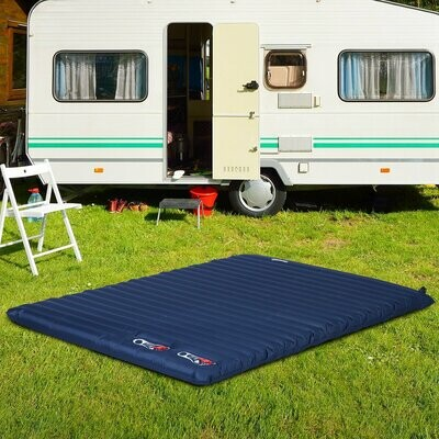 Outsunny® Grosse Luftmatraze Aufblasbare Luftbett Camping Matraze Schlafmatte Pongee Blau  L195 x B138 x H10 cm