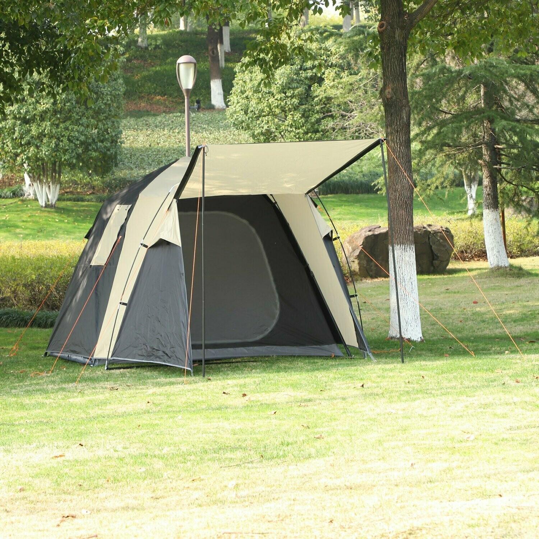 Outsunny® Pop-Up Zelt für 3-4 Personen Campingzelt mit Heringen Kuppelzelt Polyester Grau