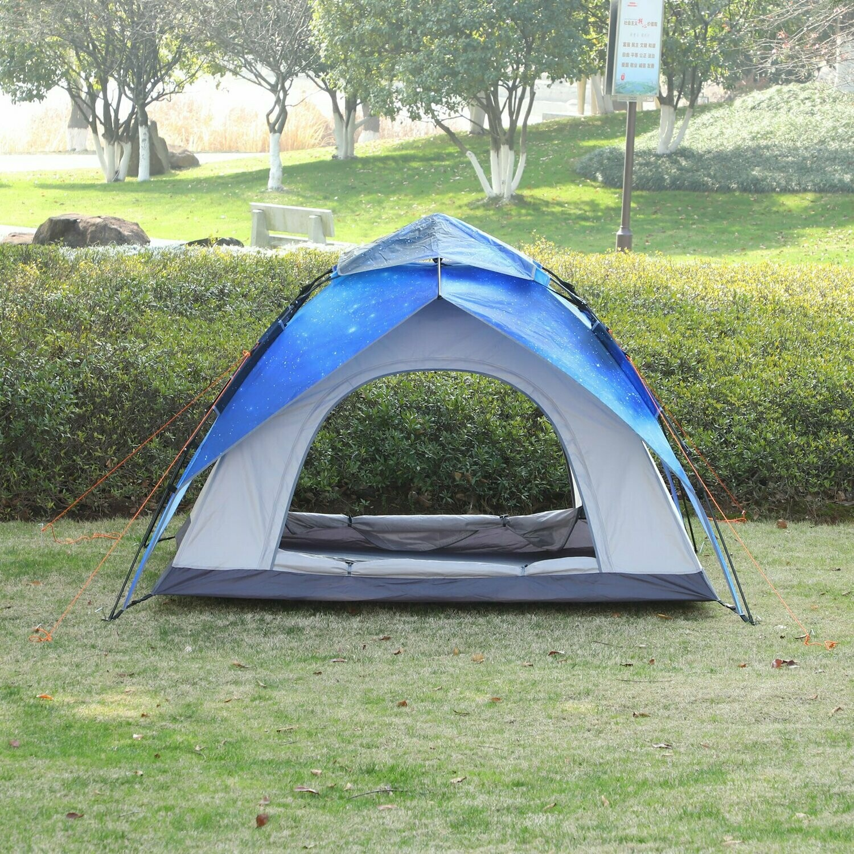 Outsunny® Zelt für 3-4 Personen Campingzelt mit Heringen Kuppelzelt Polyester Sternenfarbe