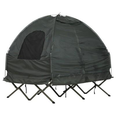 Outsunny® Campingzelt Erhöhtes Campingbett Kuppelzelt Luftmatratze 2 Personen Taft Grün