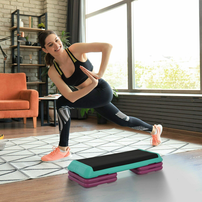 HOMCOM® Steppbrett Aerobic Fitness Stepper Heimtrainer höhenverstellbar Sport PVC PP