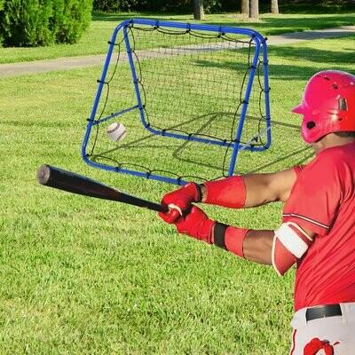 HOMCOM® Baseball Rebounder Kickback Tor Rückprallwand Trainingsnetz Faltbar Stahl Blau