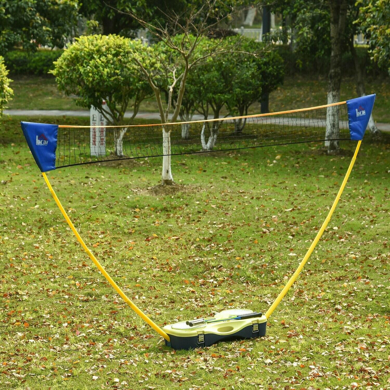 HOMCOM® Badminton-Set mit Netz + Netzständer + 4 Badminton-Schlägern tragbar