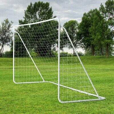 HOMCOM® Fussballtor mit Tragetasche und PE-Netzgewebe Weiss Metall+PE-Netz 366x183x122cm