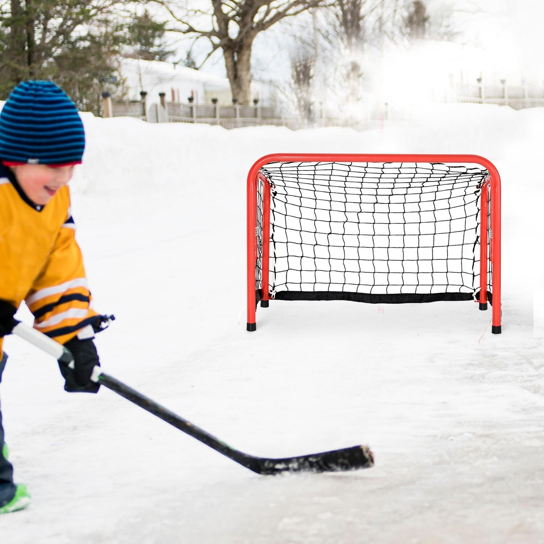 HOMCOM® Outdoor-Freizeit Tragbares Hockeytor Schnellklappbares Stahlrohr Fußballtor Eishockey