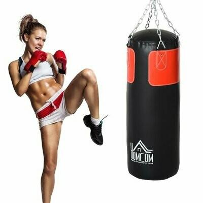 HOMCOM® Boxsack Trainingsdummy Boxtraining Boxen mit Boxhandschuhen Schwarz Ø30 x 120 cm